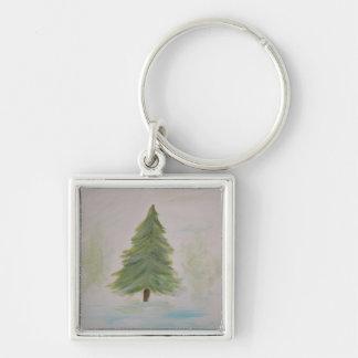 Christmas Tree landscape image Keychains