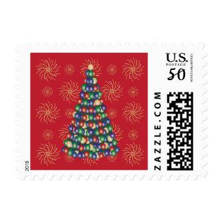 Christmas Tree Light Bulbs Design Postage