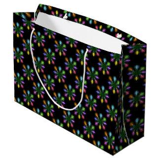 Christmas Tree Lights Pattern Large Gift Bag