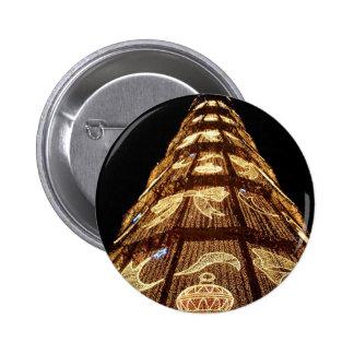 Christmas tree lights pinback button