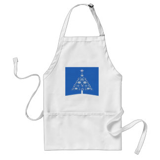 Christmas Tree Made Of Snowflakes On Blue Backgro Adult Apron