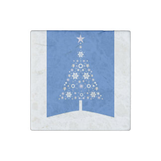 Christmas Tree Made Of Snowflakes On Blue Backgro Stone Magnet