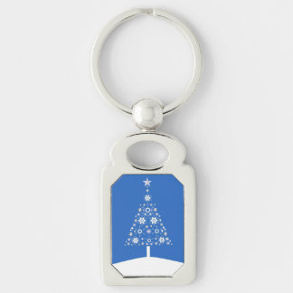 Christmas Tree Made Of Snowflakes On Blue Backgro Key Chain