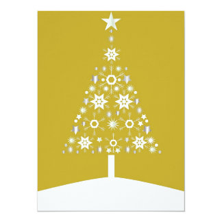 """Christmas Tree Made Of Snowflakes On Gold Backgrou 5.5"""" X 7.5"""" Invitation Card"""