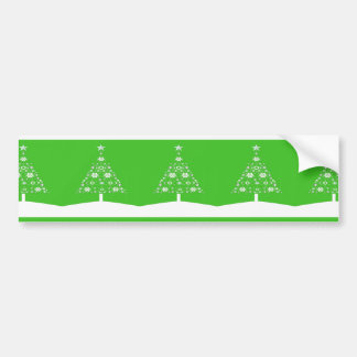 Christmas Tree Made Of Snowflakes On Green Bumper Sticker