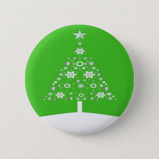 Christmas Tree Made Of Snowflakes On Green Pinback Button