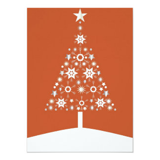 "Christmas Tree Made Of Snowflakes On Orange Backgr 5.5"" X 7.5"" Invitation Card"