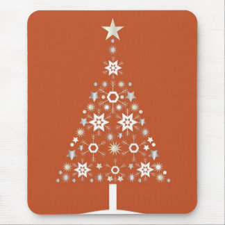 Christmas Tree Made Of Snowflakes On Orange Backgr Mouse Pad