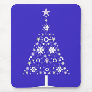 Christmas Tree Made Of Snowflakes On Purple Backgr Mouse Pad