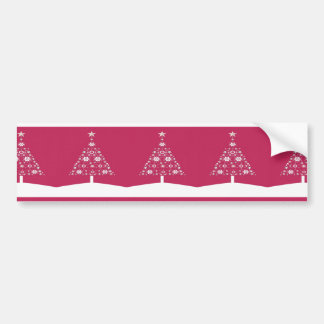 Christmas Tree Made Of Snowflakes On Red Backgroun Bumper Sticker