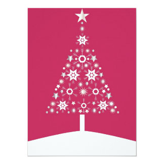 """Christmas Tree Made Of Snowflakes On Red Backgroun 5.5"""" X 7.5"""" Invitation Card"""