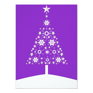 """Christmas Tree Made Of Snowflakes On Violet Backgr 5.5"""" X 7.5"""" Invitation Card"""