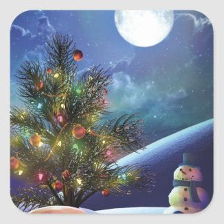Christmas tree magical lights and happy snowman square sticker