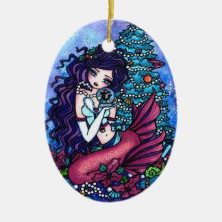 Christmas Tree Mermaid Presents Art by Hannah Lynn Ceramic Ornament