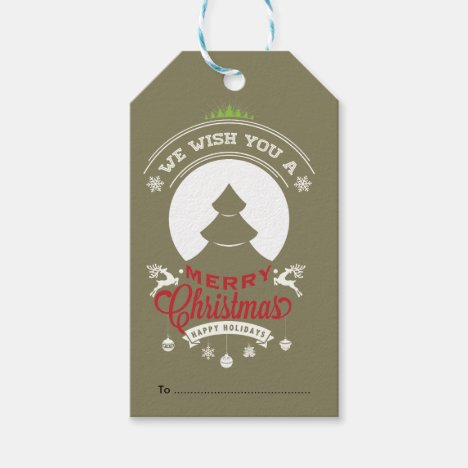 Christmas Tree, Merry Christmas Text Design Gift Tags
