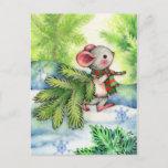 Christmas Tree Mouse Cute Animal Holiday Postcard