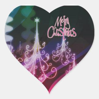 Christmas tree n modern snow heart sticker
