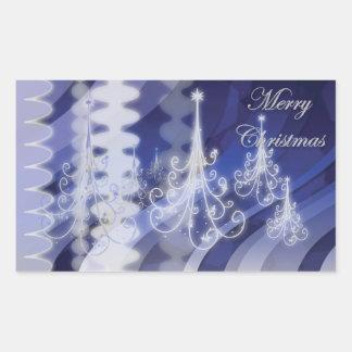 Christmas tree n modern snow rectangular sticker