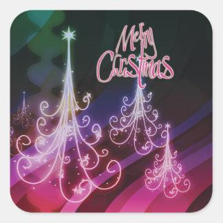 Christmas tree n modern snow square sticker