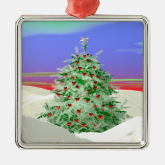 Christmas Tree of Hearts Metal Ornament