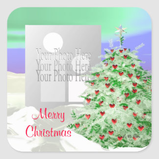 Christmas Tree of Hearts (photo frame) Square Sticker