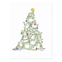 CHRISTMAS TREE OF KITTIES postcard by Boynton