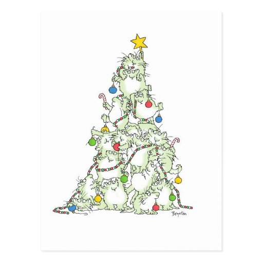 CHRISTMAS TREE OF KITTIES postcard by Boynton