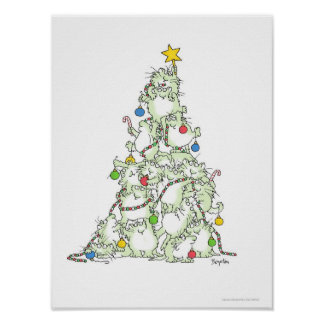 CHRISTMAS TREE OF KITTIES poster by Sandra Boynton
