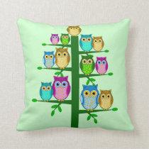Christmas tree of owls throw pillow