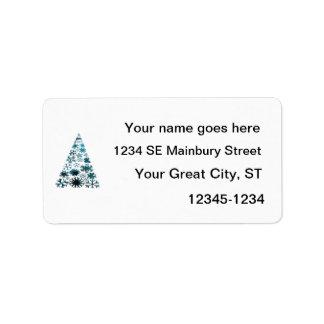 Christmas Tree of Snowflakes Green Mottled blue.pn Custom Address Label