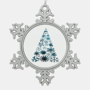 Christmas Tree of Snowflakes Green Mottled blue.pn Ornament