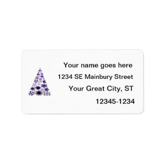 Christmas Tree of Snowflakes Green Mottled purple. Custom Address Labels