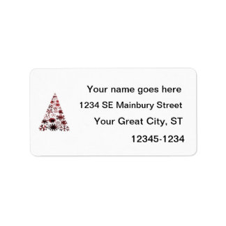 Christmas Tree of Snowflakes Green Mottled red.png Personalized Address Label
