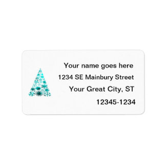 Christmas Tree of Snowflakes Green Mottled teal.pn Personalized Address Labels