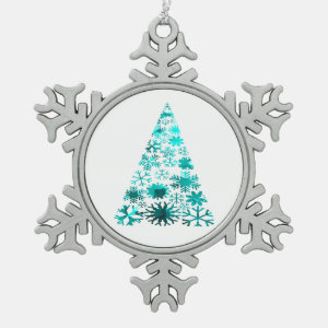Christmas Tree of Snowflakes Green Mottled teal.pn Ornament
