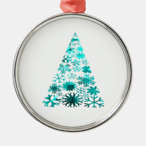 Christmas Tree of Snowflakes Green Mottled teal.pn Christmas Tree Ornaments