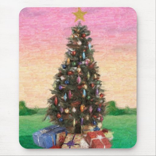 Christmas Tree : Oil Painting Mouse Pad