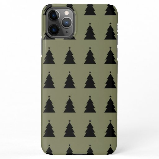 Christmas Tree - Olive Green Background iPhone 11Pro Max Case