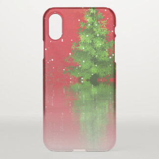 Christmas Tree on a Red Background   iPhone X Case