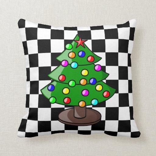 Christmas Tree on Black and White Checkered Backgr Throw Pillow Zazzle