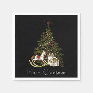 Christmas Tree on Black Napkins