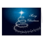Christmas Tree On Blue Glowing background Card