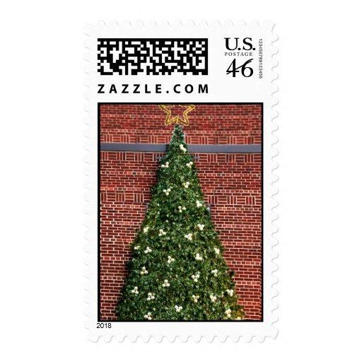 Christmas Tree on Brick Wall Postage Stamp