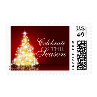 Christmas Tree On Burgundy Postage