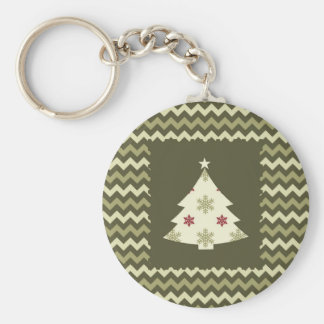 Christmas Tree on Chevron Keychain
