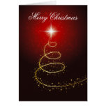 Christmas Tree On Glowing Red Background Card