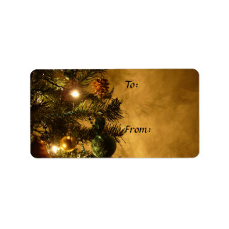 Christmas Tree on Gold Gift Tag Label