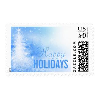 Christmas Tree On Light Blue Postage