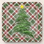 Christmas Tree on Plaid Drink Coasters
