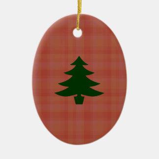 Christmas Tree on Plaid Ornament